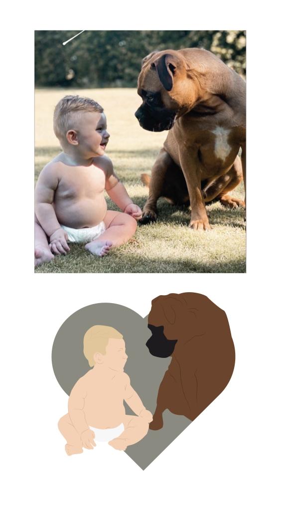 illustration enfant chien